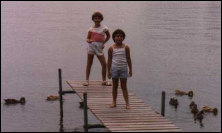 me and megan on the dock at the lakehouse
