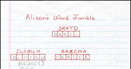 alison's word jumble