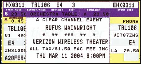 rufus wainwright ticket stub